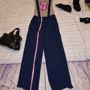 High-waisted Navy Palazzo Overall pants